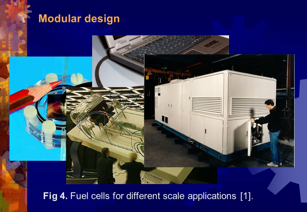 Modular design Fig 4. Fuel cells for different scale applications [1].